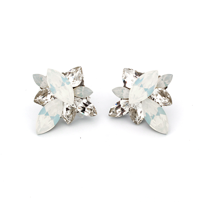 Haute Bride Statement Earrings with White Opal Swarovski Crystals
