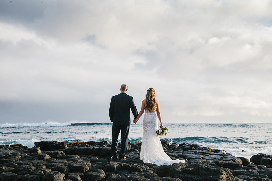 Lava Rocks Wedding Photos in Kauaii