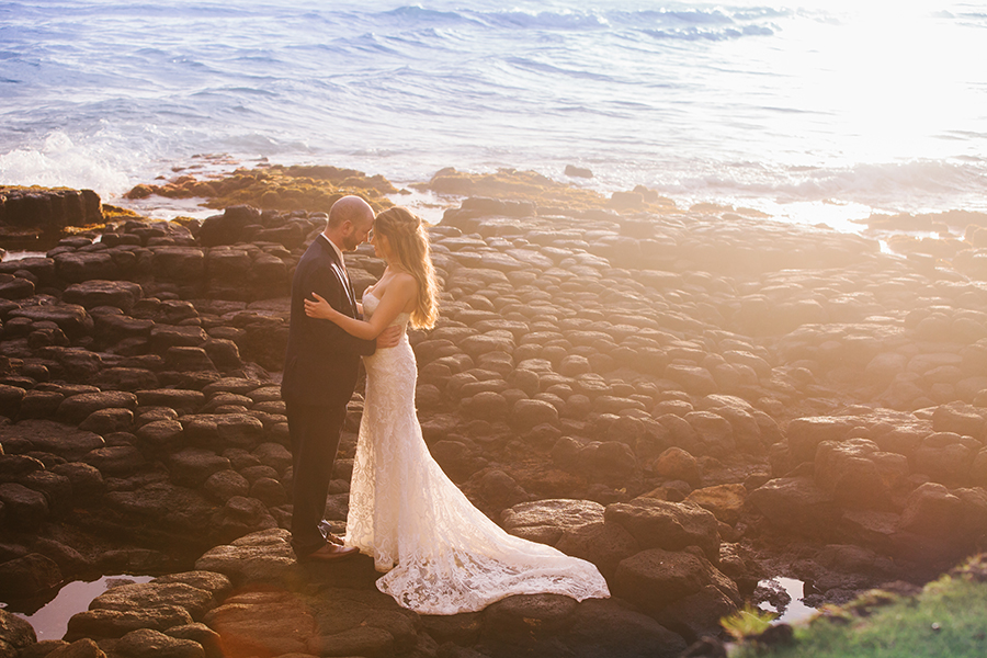 Hawaii Beachside Wedding Photos with a Mermaid Wedding Dress
