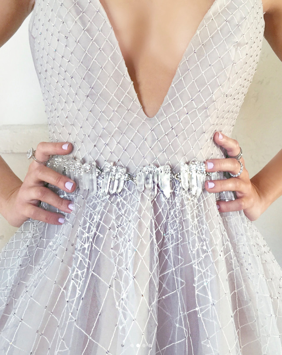Haute Bride Hand Crafted Swarovski Crystal Belt with the Hayley Paige Laney Gown