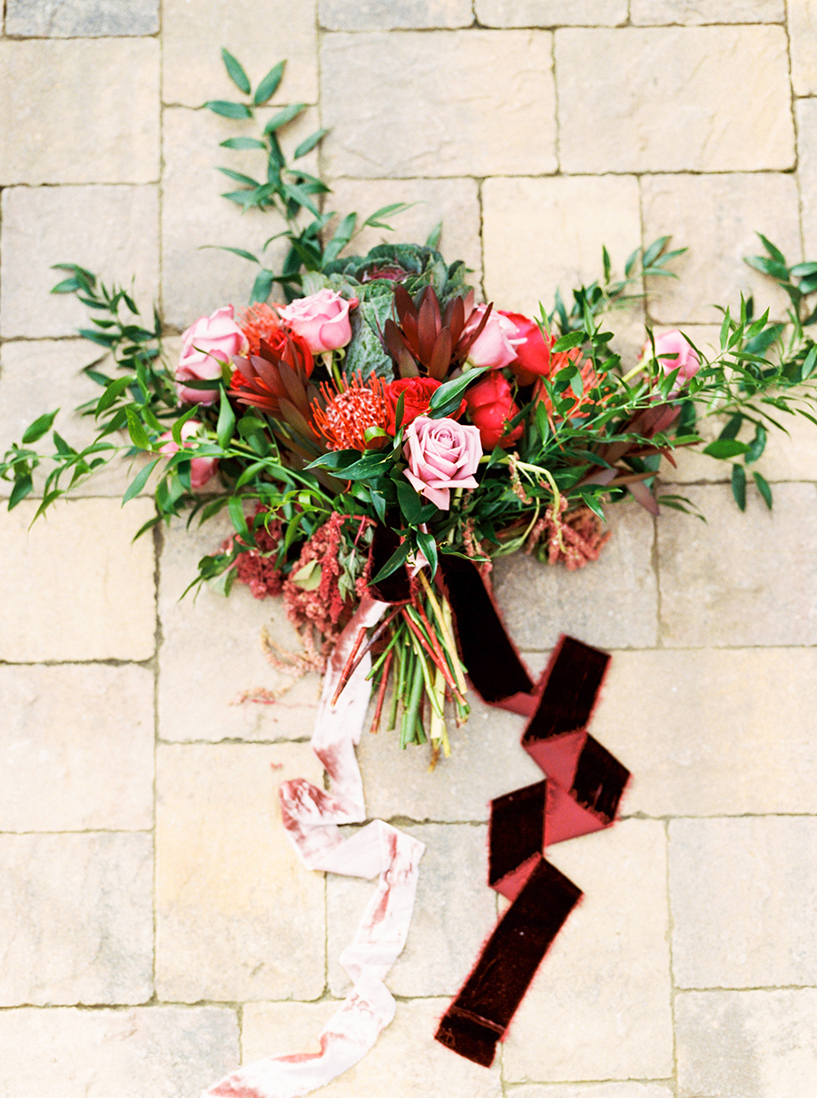 Red, Pink, and Berry Bouquet with Velvet Ribbons