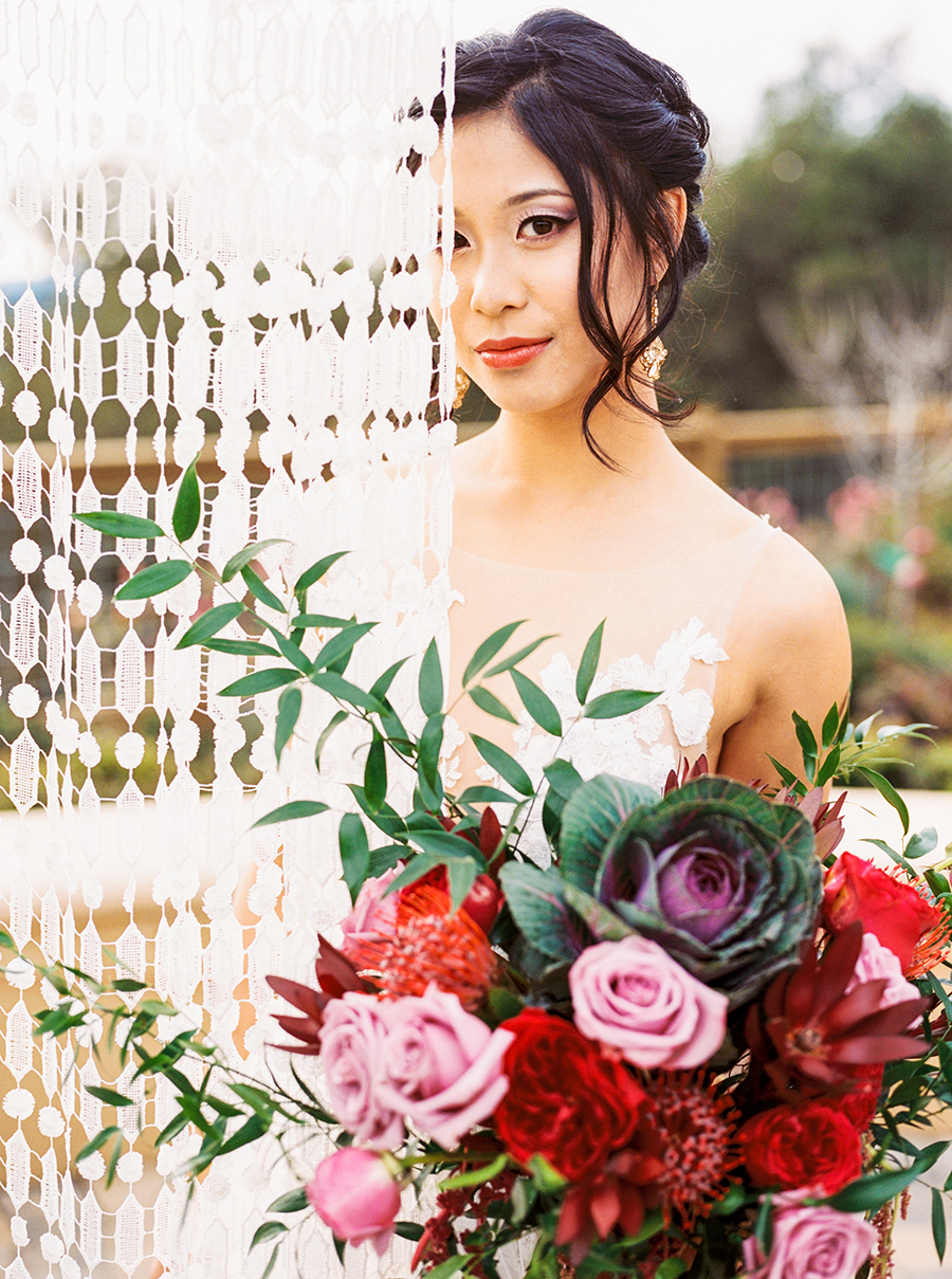 Luxe Bohemian Bride with a Nude and Berry Color Palette
