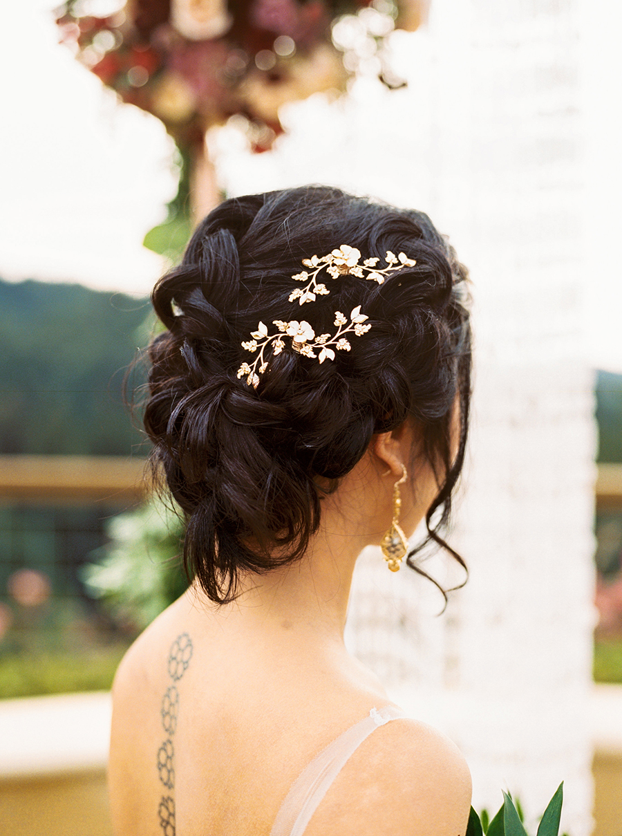 Elegant Bridal Updo with Gold Vine Hair Pins from Haute Bride