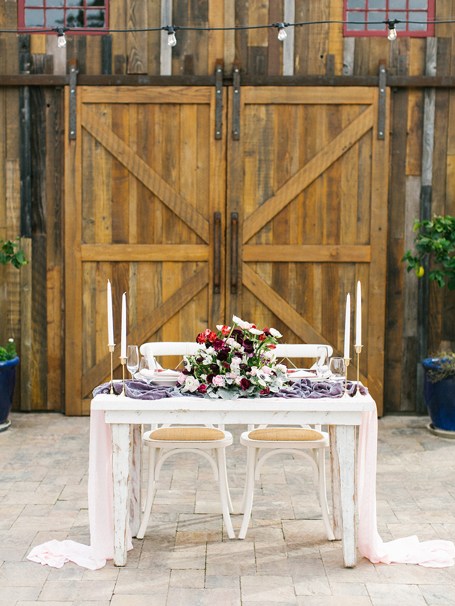 Barn Wedding Reception with a Vintage Sweetheart Table