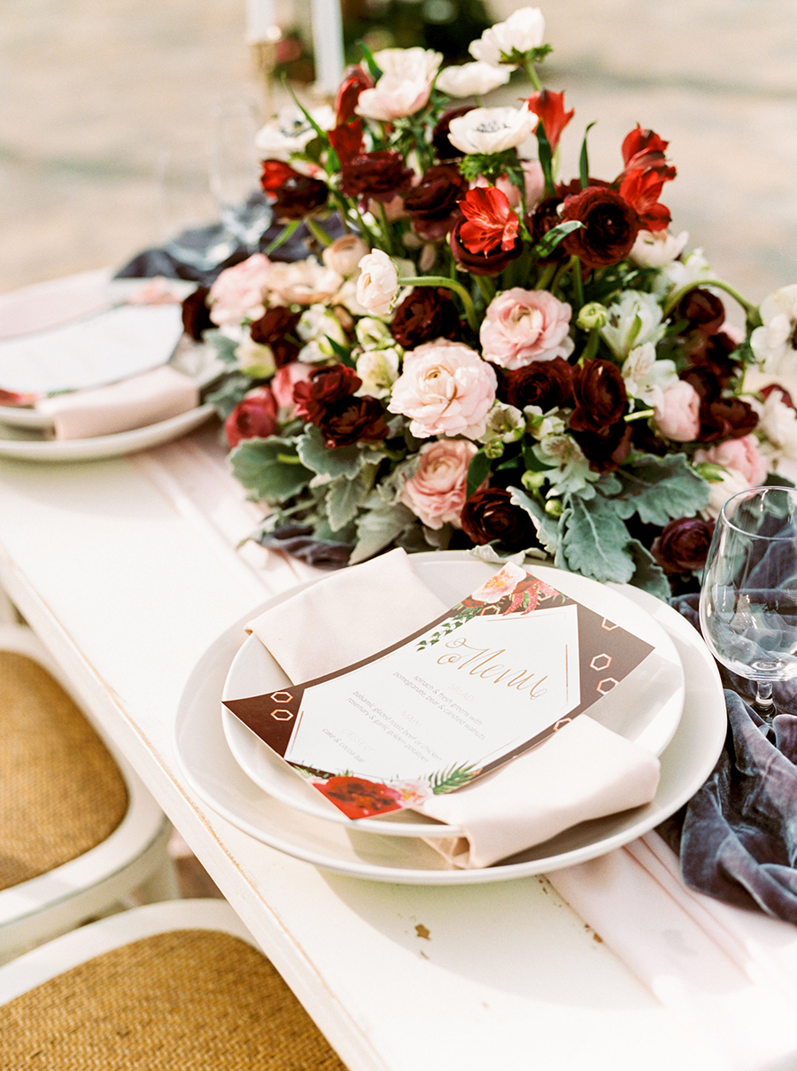 Burgundy and Blush Centerpiece for a Romantic Winery Wedding