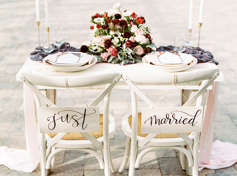 Just Married Calligraphy Chair Signs for the Bride and Groom