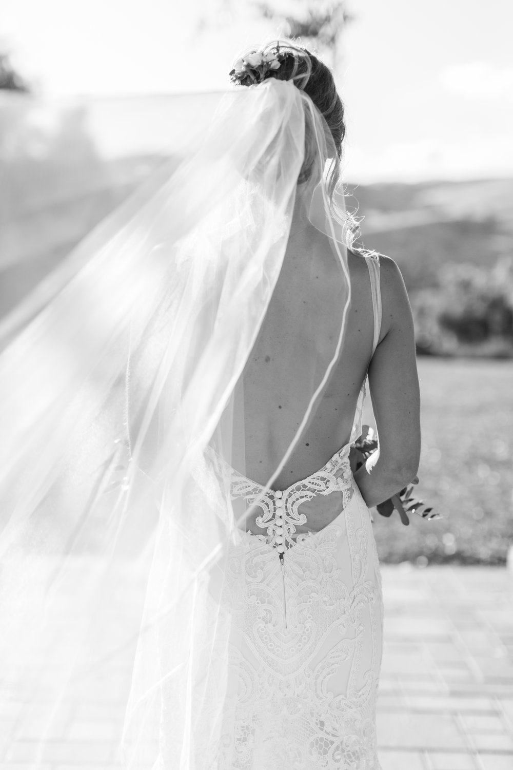 Low Back Lace Illusion Wedding Dress from Haute Bride