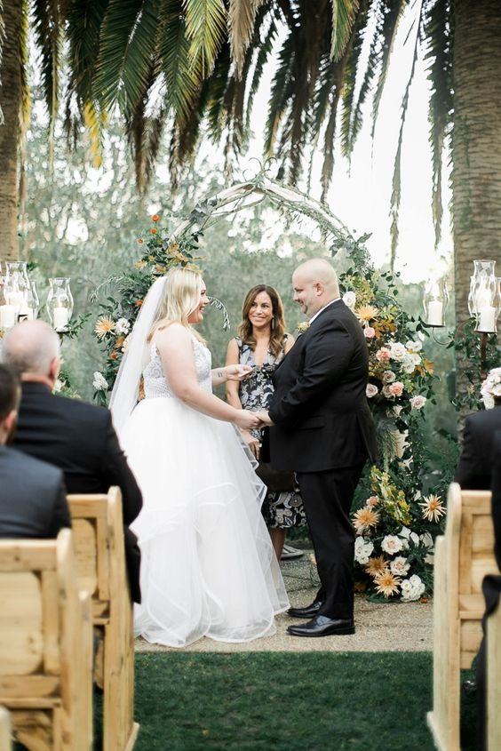 Romantic Outdoor Ranch Wedding Ceremony with Fall Flowers