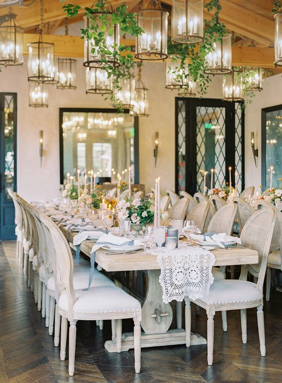 Rancho Valencia Wedding Reception with Hanging Lanterns