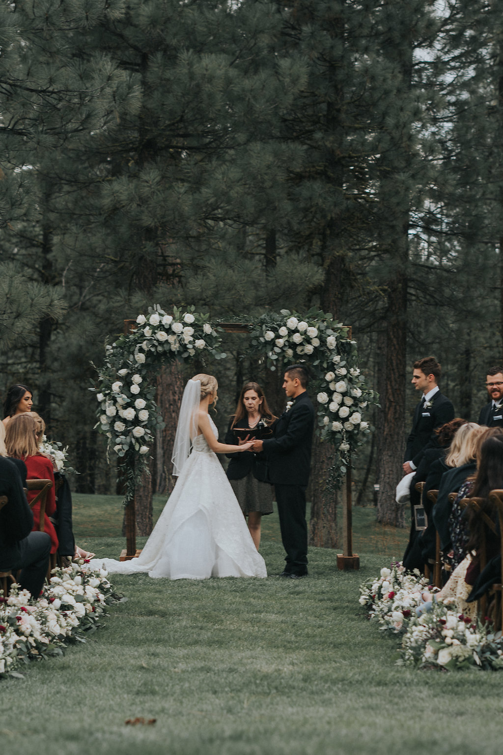Woodland Wedding Ceremony with Romantic Garden Flowers