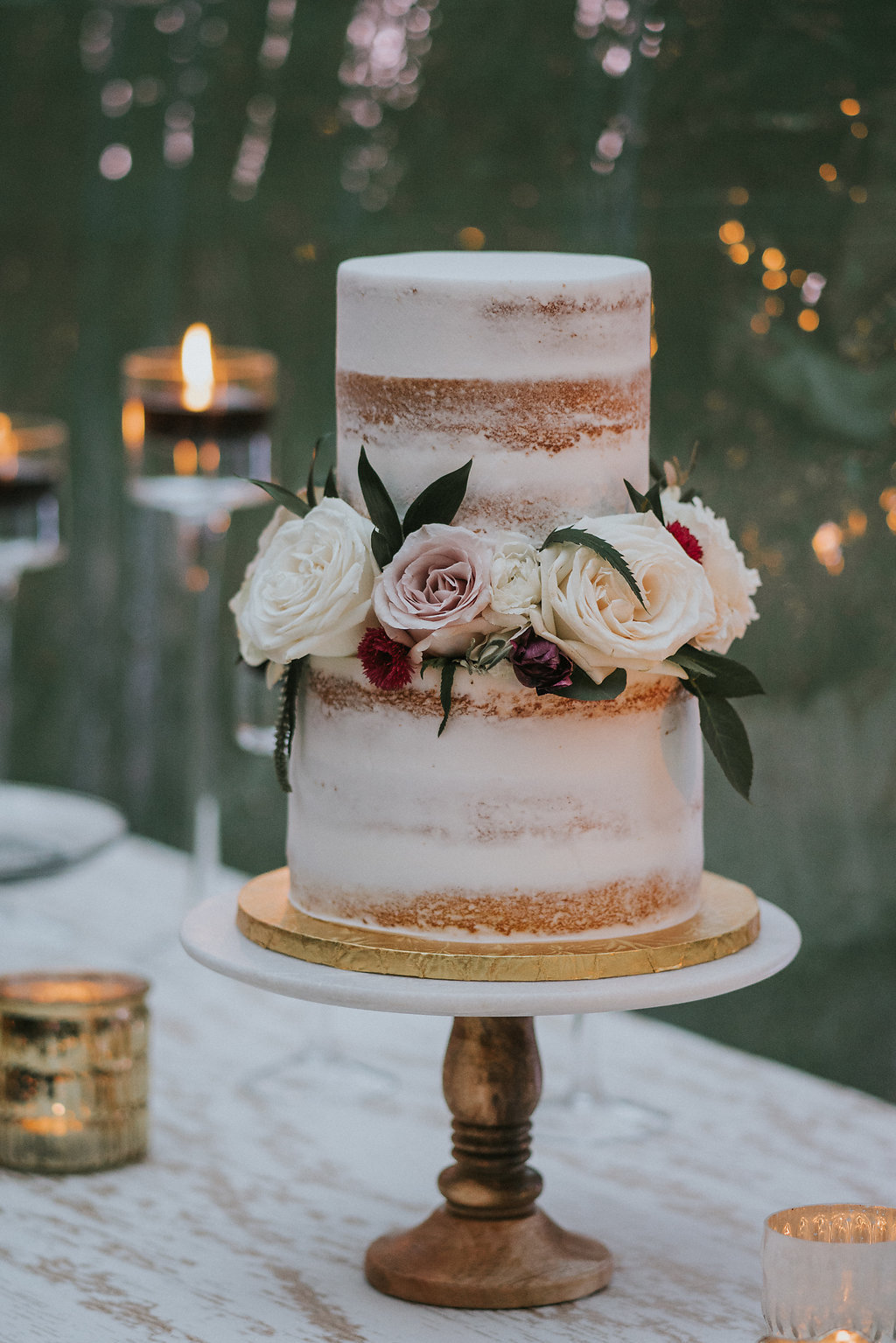 Simple Rustic Naked Wedding Cake