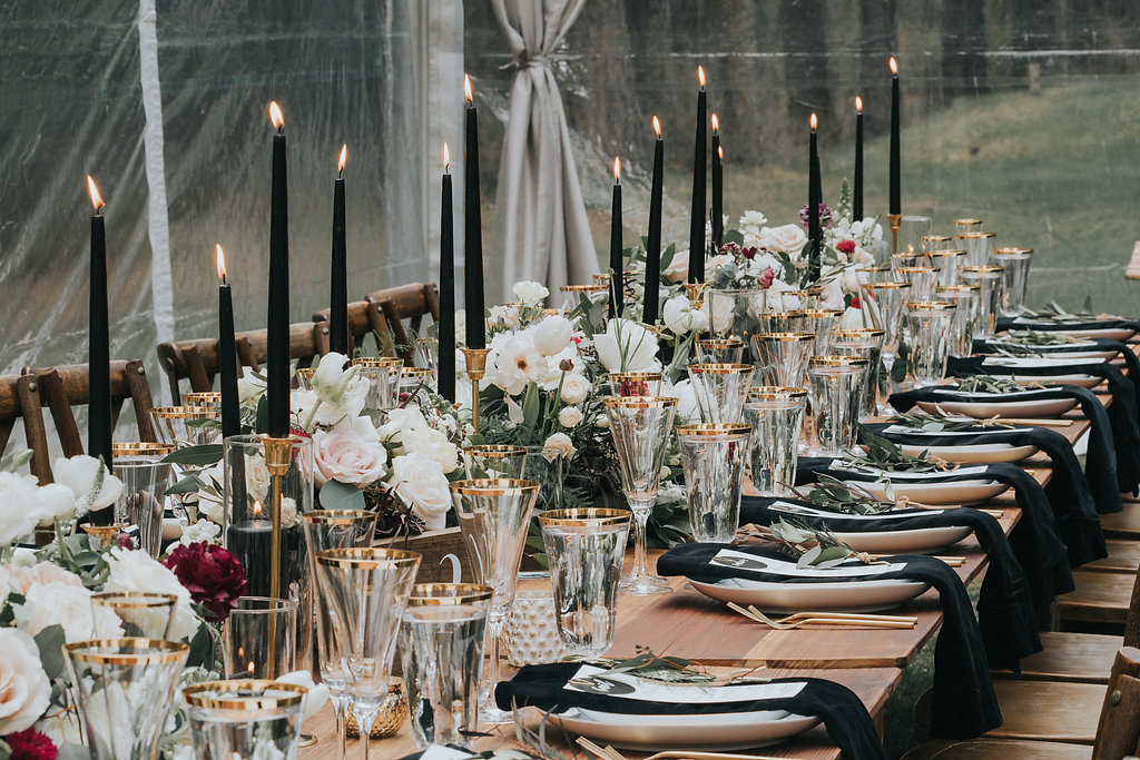 Gold and Greenery Wedding Black Candles for Drama