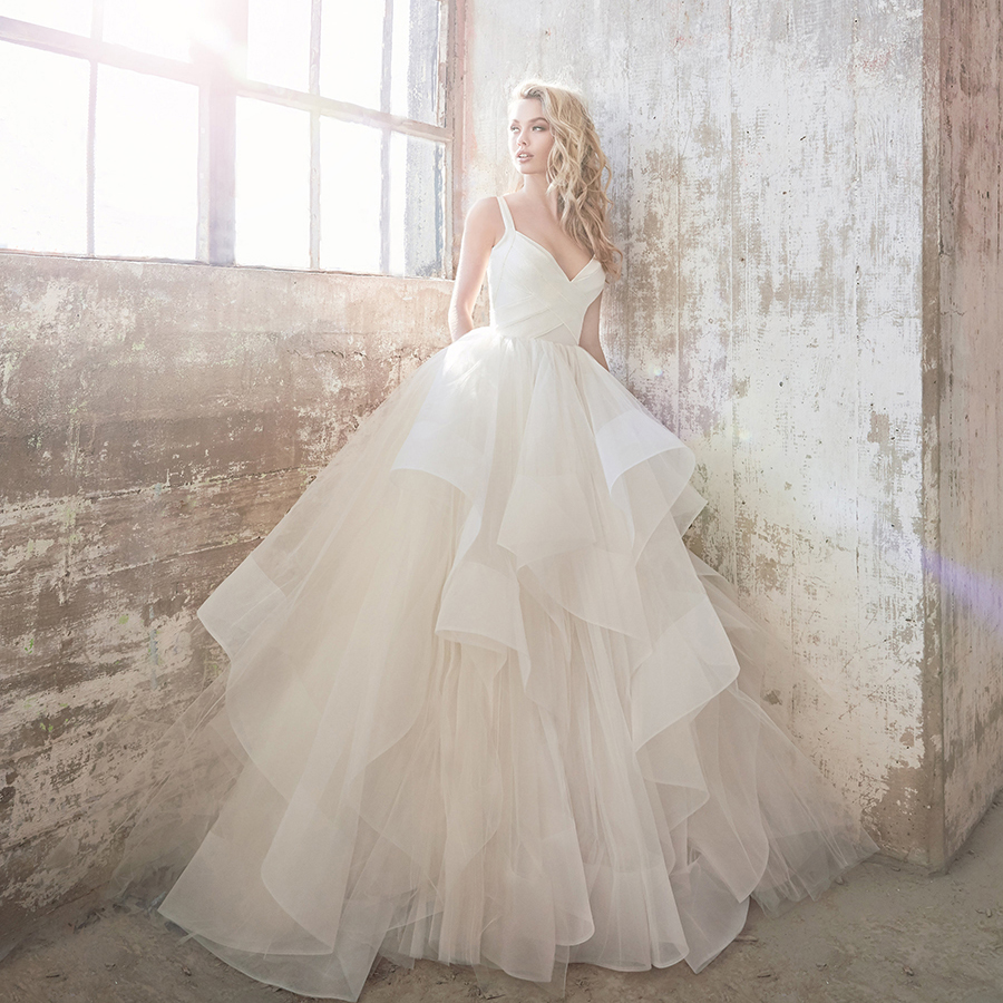 Hayley Paige Bowie Knit and Tulle Ball Gown