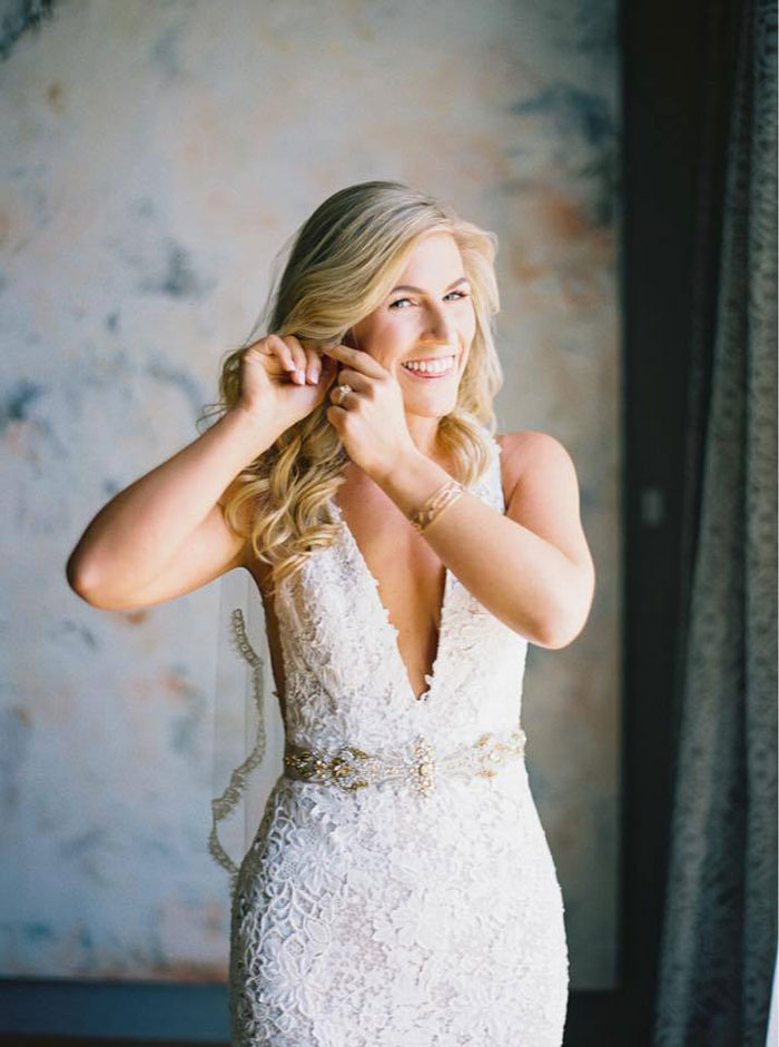 Lace Sheath Wedding Dress with an Embroidered Belt