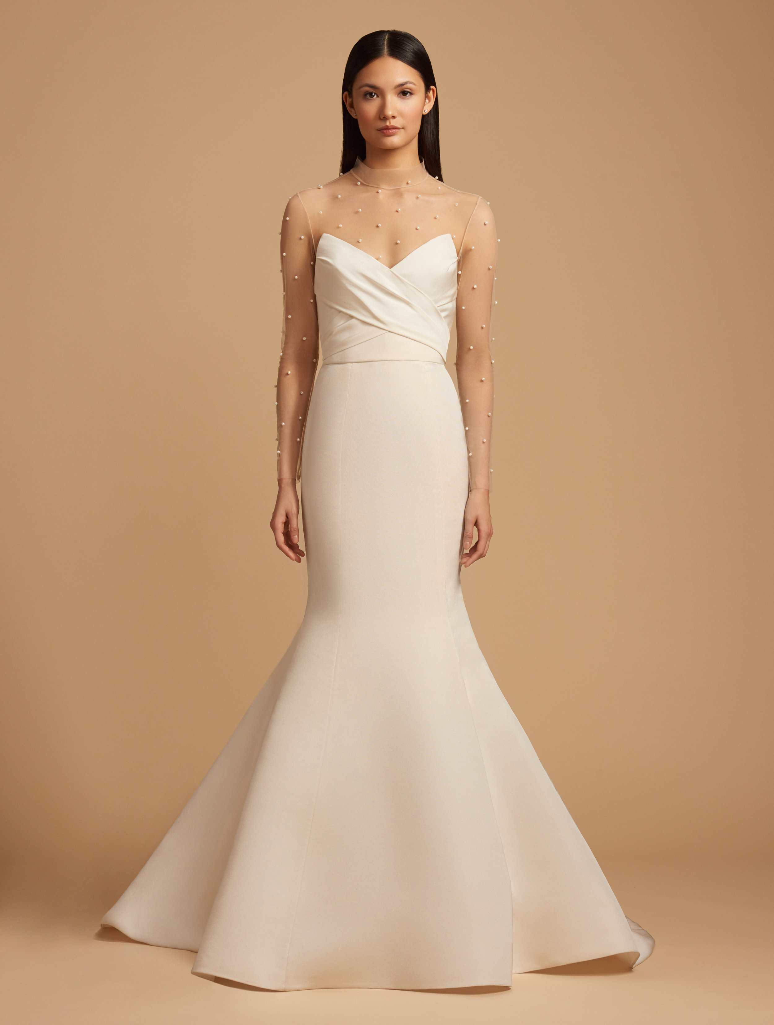 Allison Webb Meredith Wedding Dress with Illusion Sleeve Pearl Topper