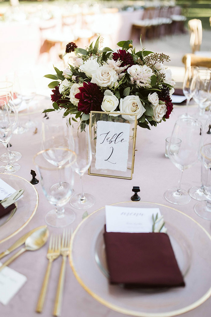 Burgundy and Blush Wedding Decor