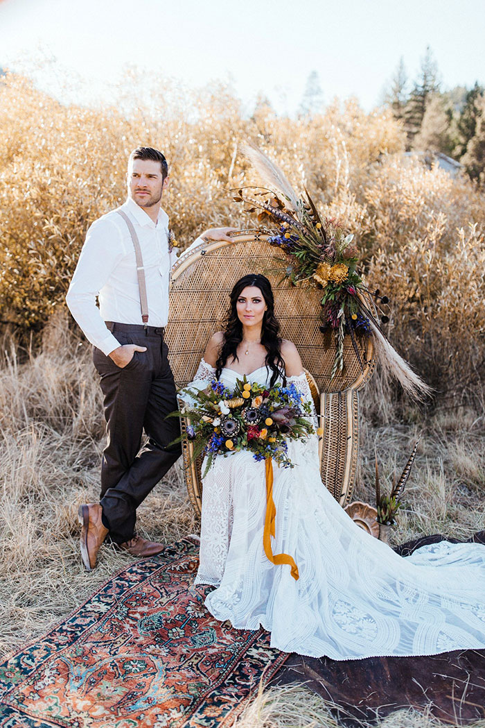 Boho Wedding Inspiration with Bachelorette Becca Kufrin wearing a Rue De Seine Wedding Dress and Haute Bride Accessories