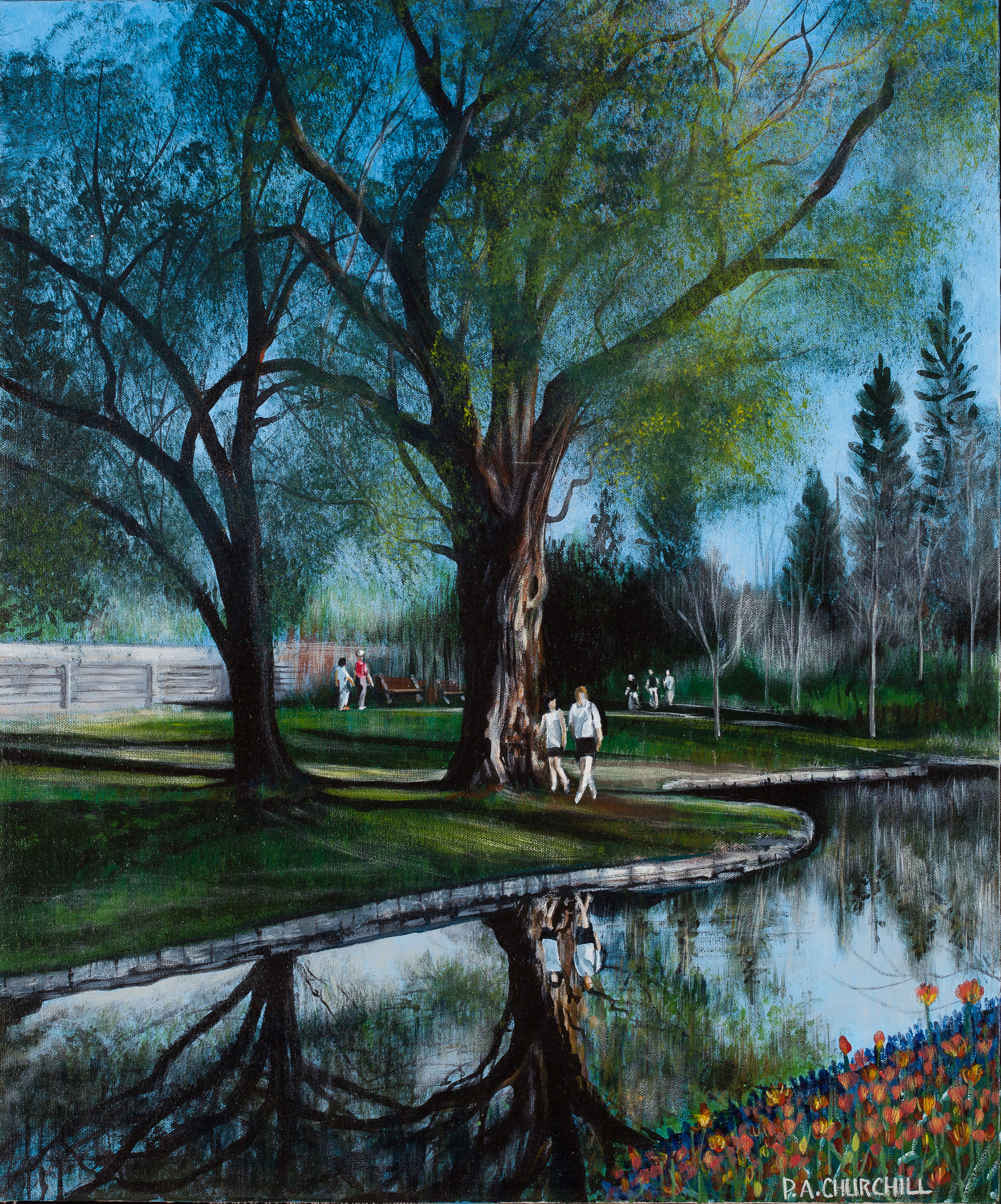 "Spring Walk On The Rideau  20""x24"" Acrylic SOLD"
