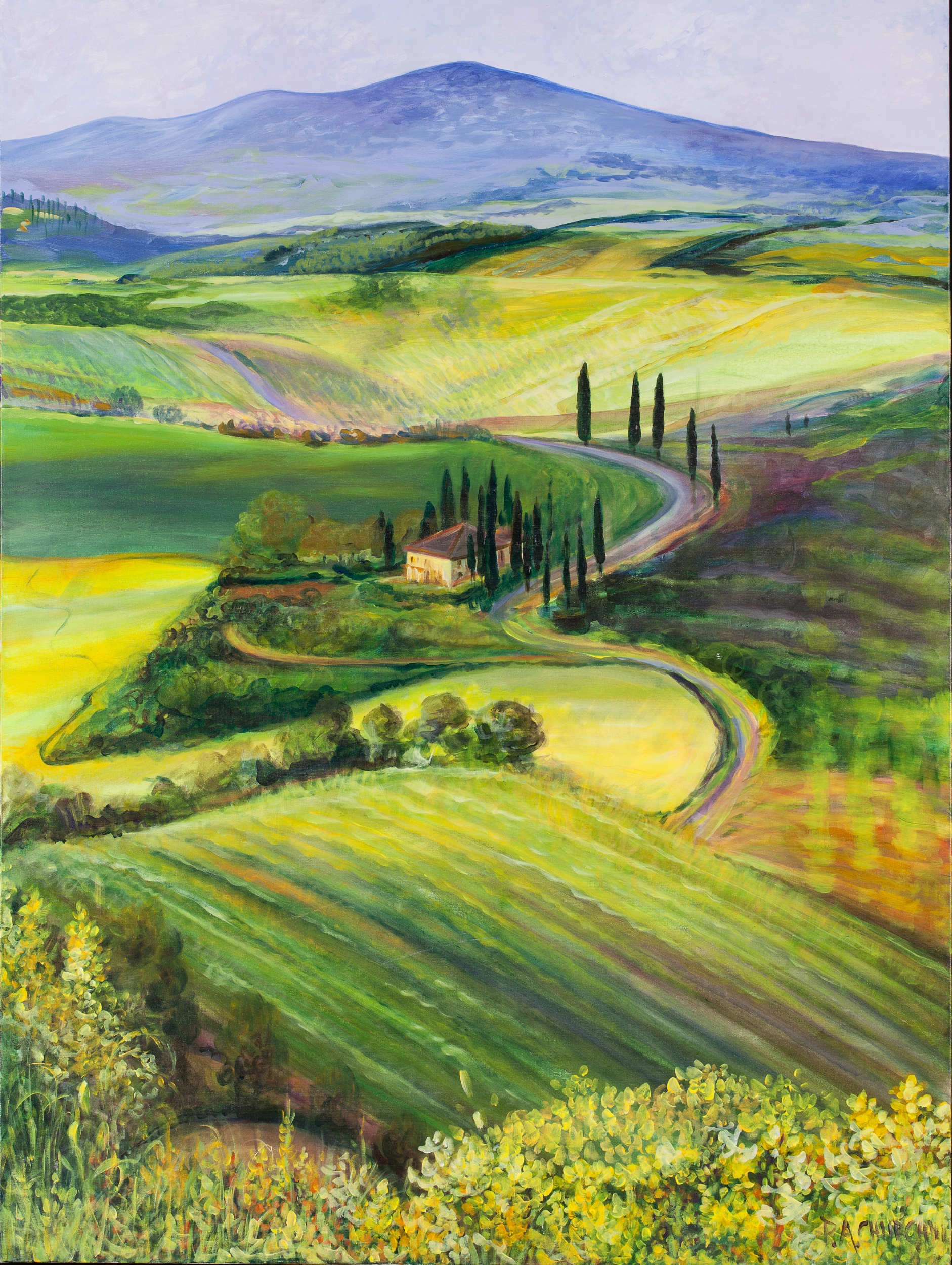 "Dreaming Of Tuscany  36""x48"" Acrylic"