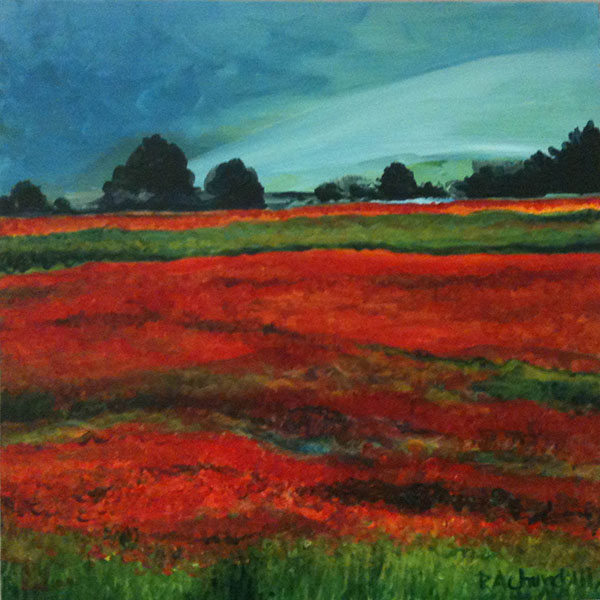 """Scarlet Tuscan Landscape 16""""x16"""" Acrylic SOLD"""