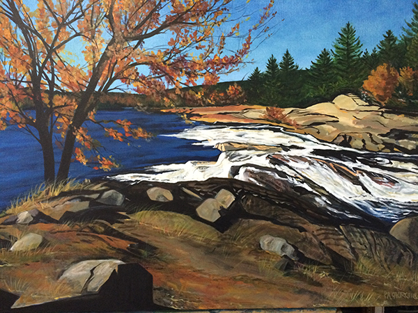 "On Bala Falls 30""x40"" Acrylic $900.00 on loan at Georgian Bay Hospice"