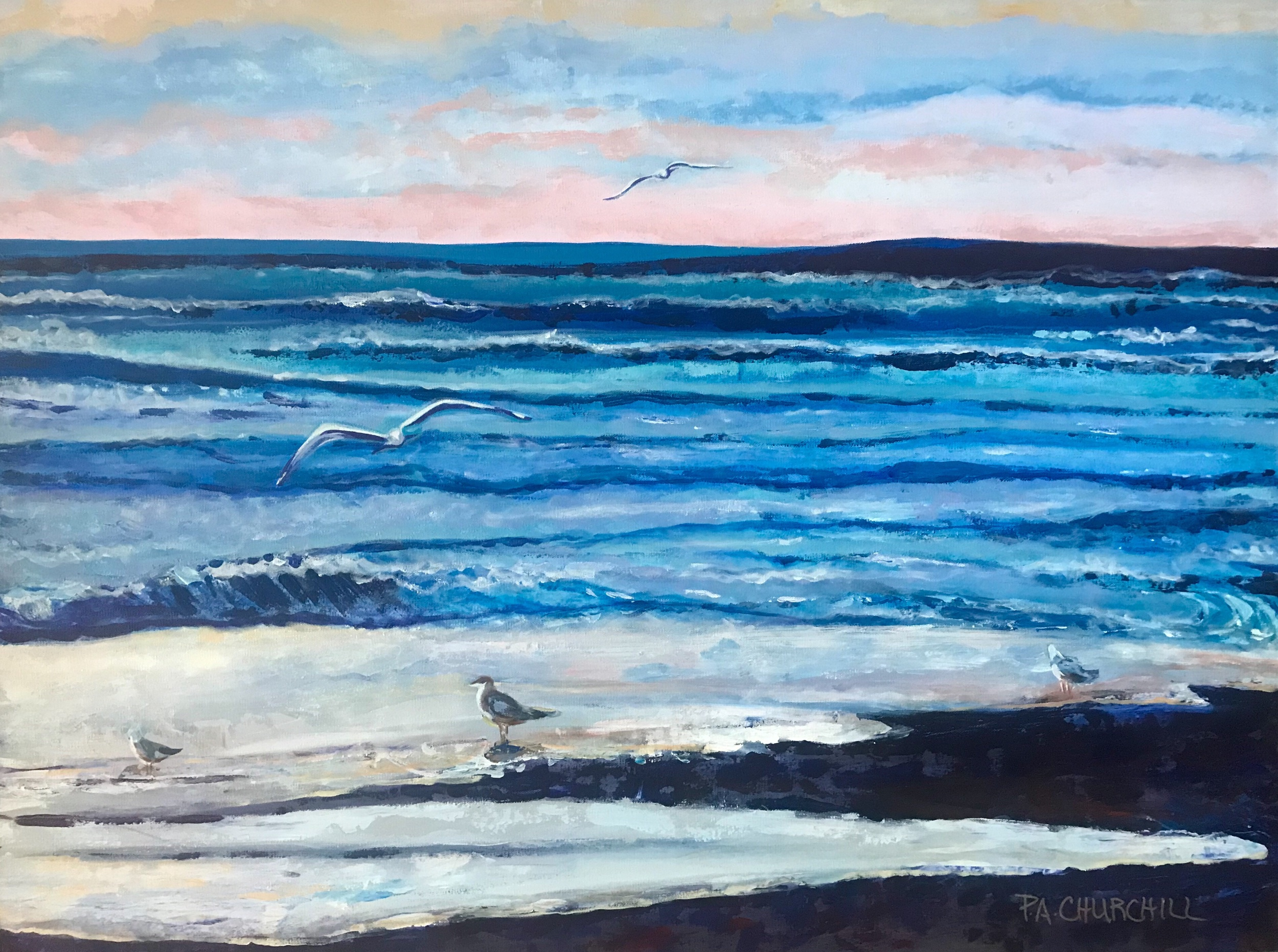 "Somewhere Beach 30""x40"" Acrylic $900"