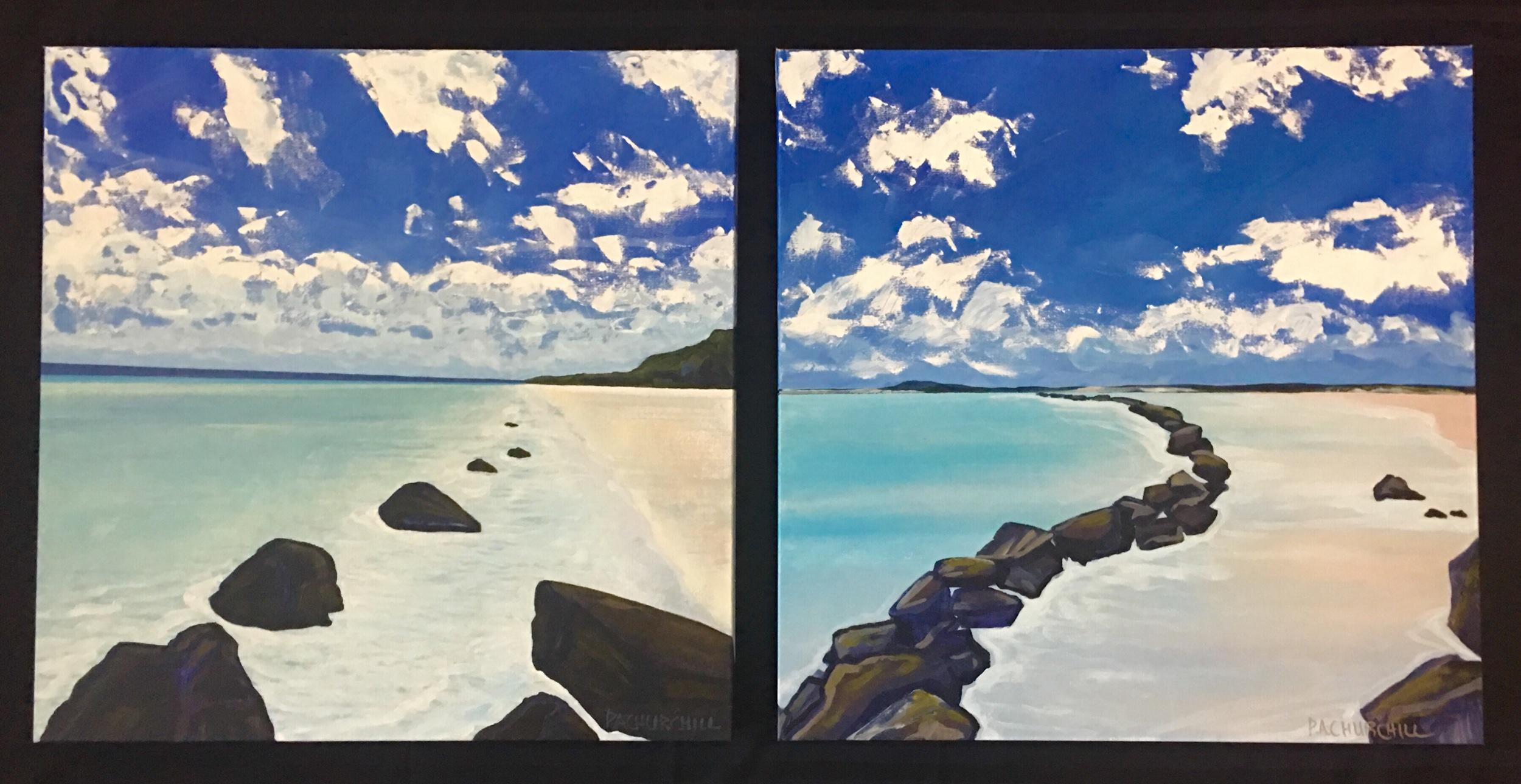 "Perfect Beach Day & Beach Dreams 24""x24"" Acrylic $450 each"