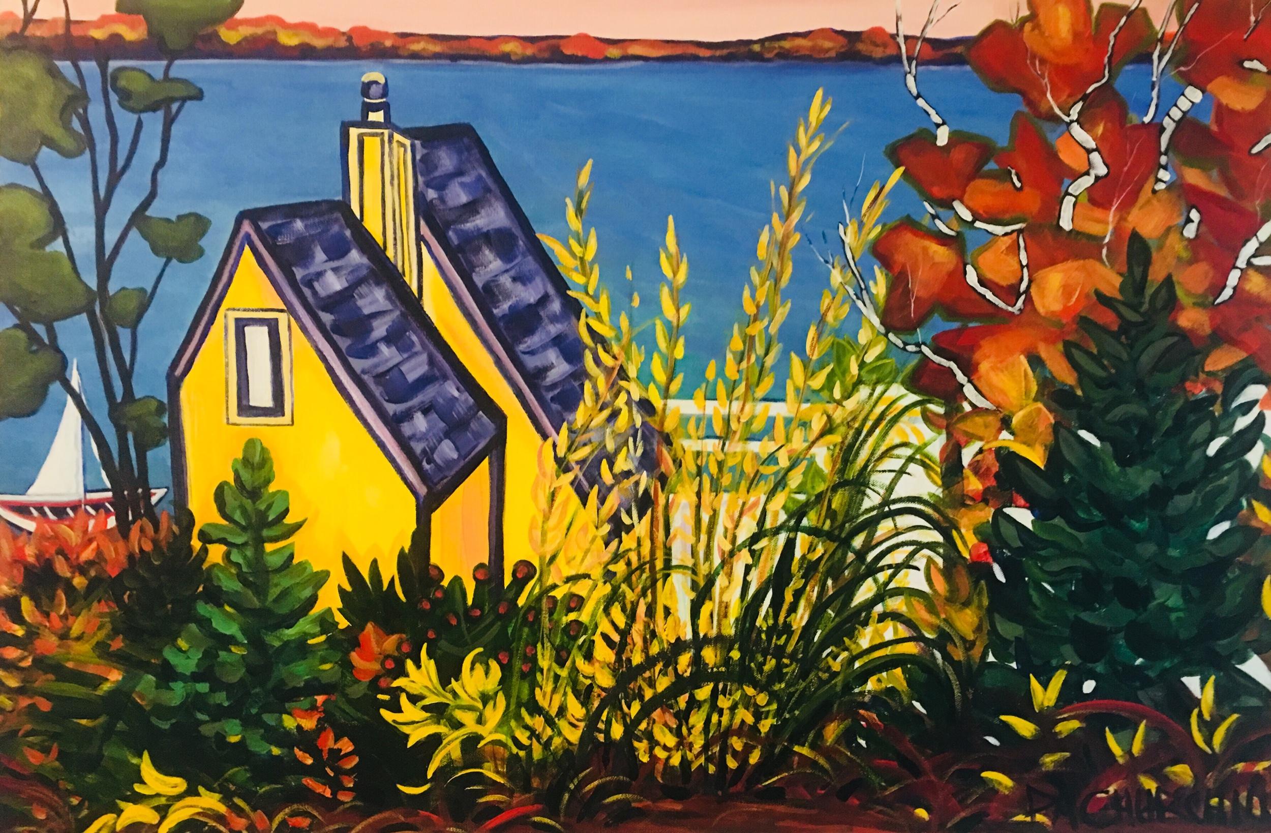 "Boathouse on the Barrie Waterfront 24""x36"" $650 On Exhibit at the Collingwood Library Until October"