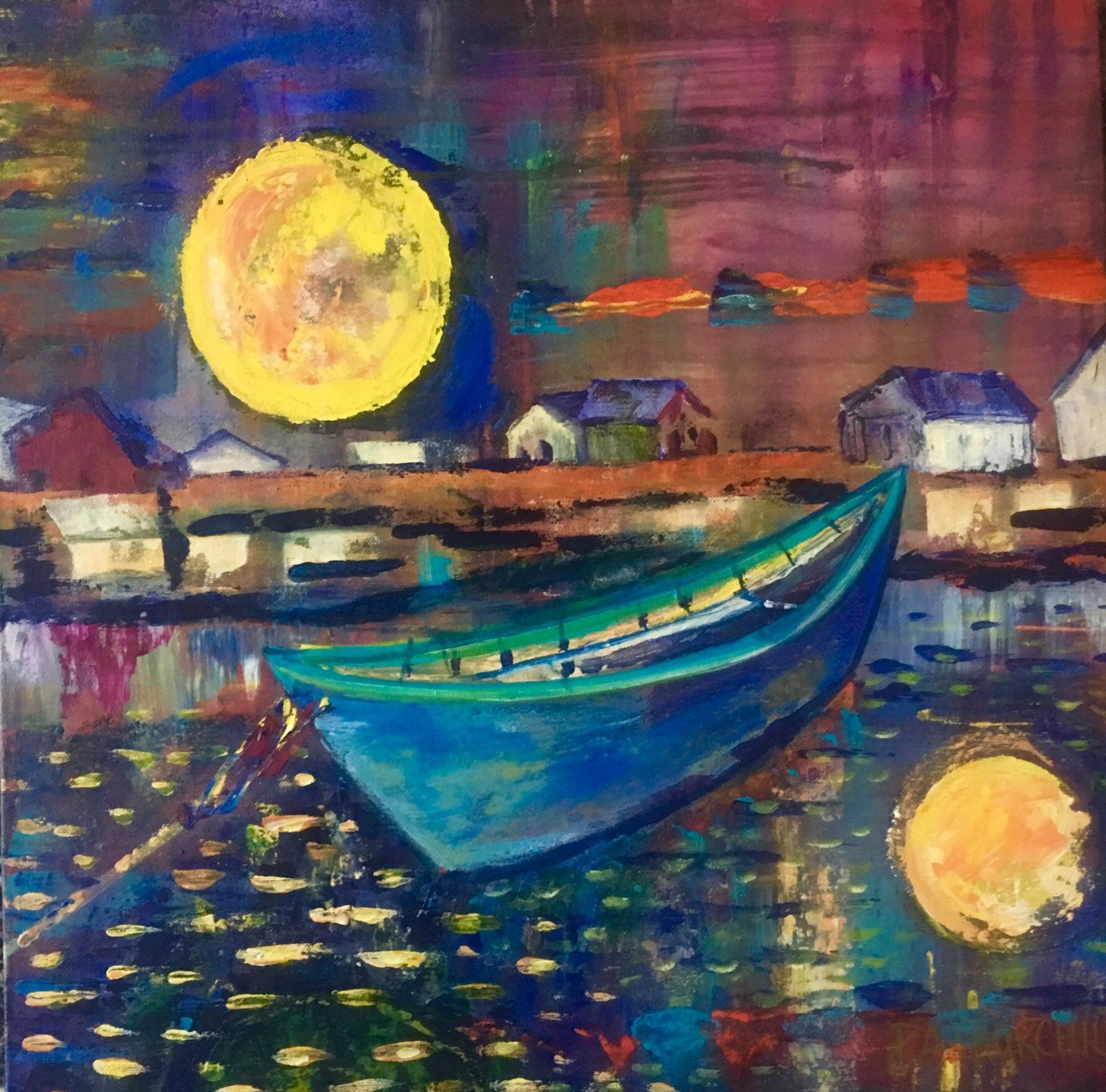 """Moon Beach 20""""x20"""" Acrylic $300"""