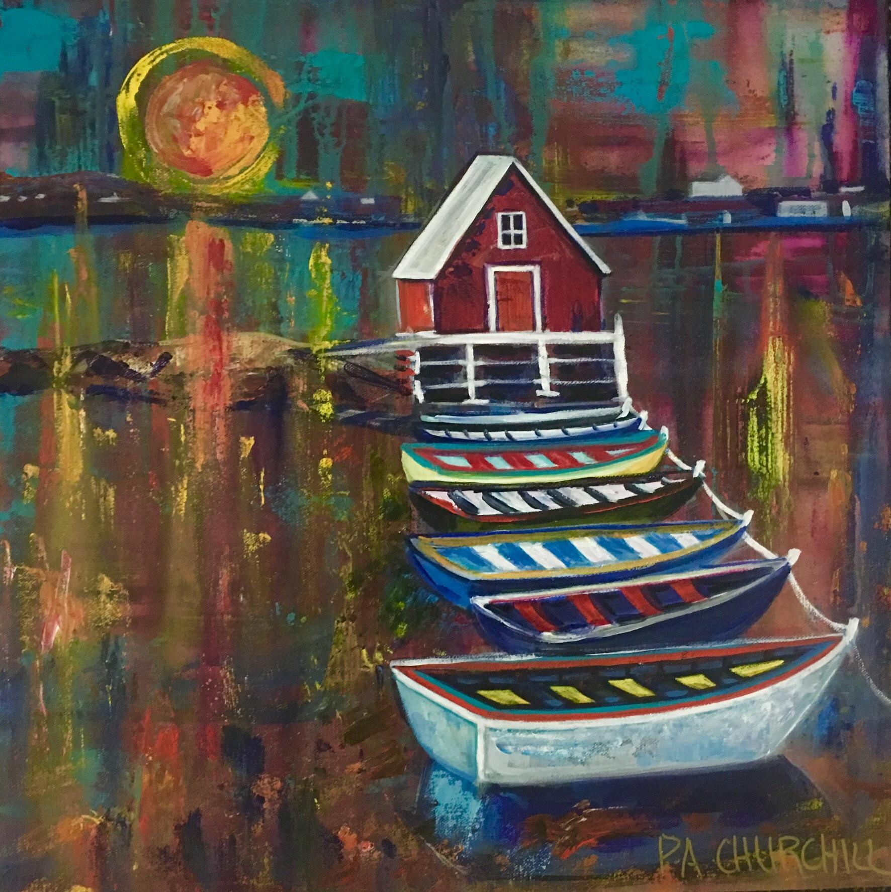 "Sunrise Harbour 20""x20"" Acrylic $300"