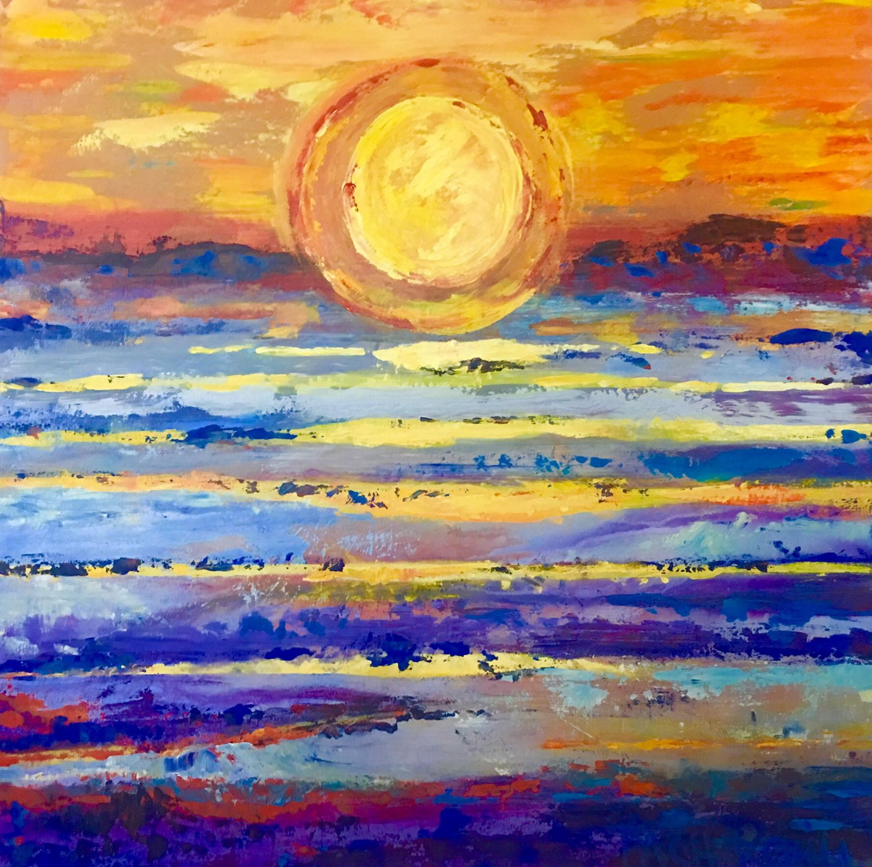 "Sinking Sunset 30""x30"" Acrylic $675"