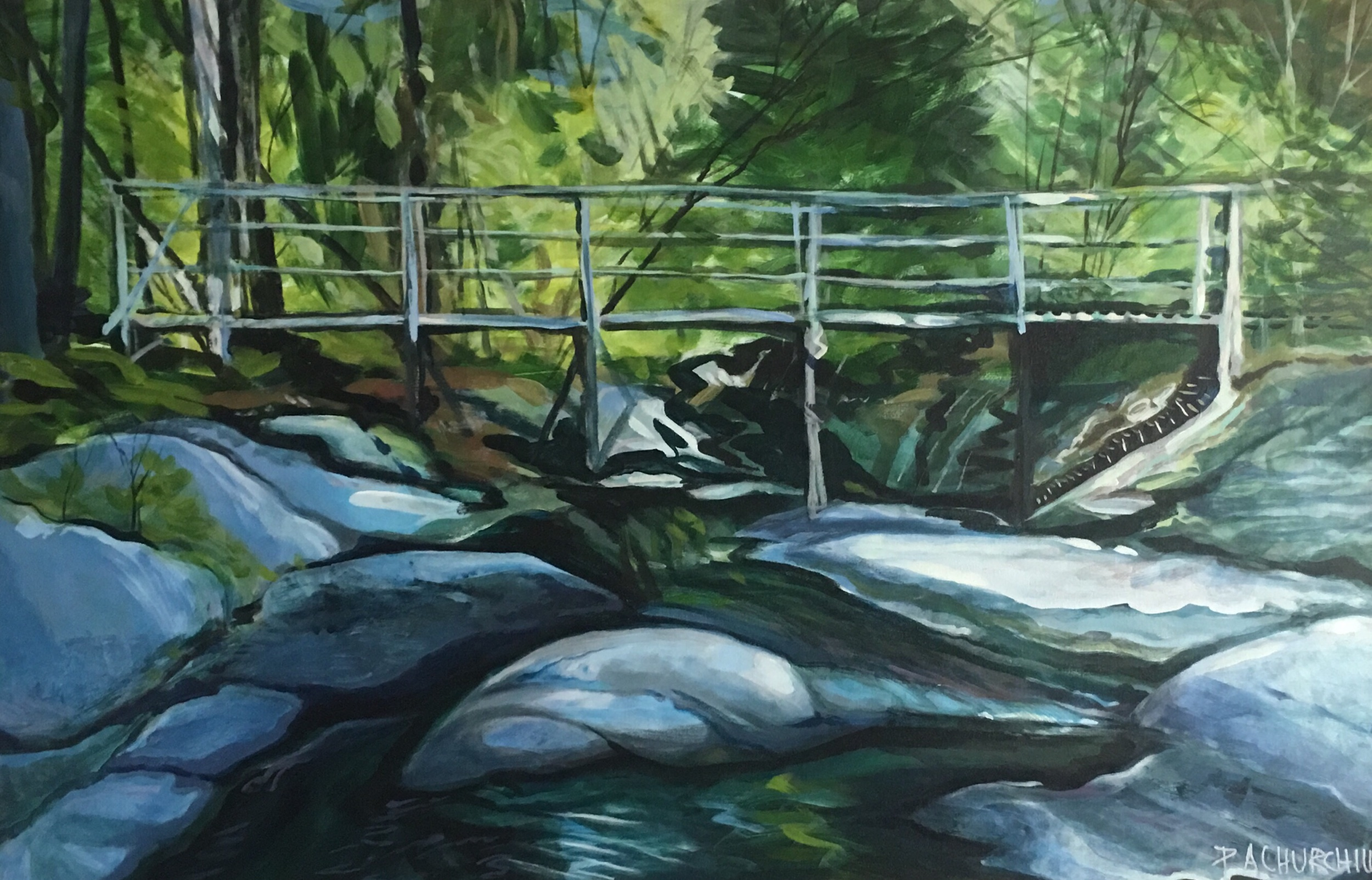 "Secret Bridge in Saint-Sauveur 24""x36"" Acrylic $650 SOLD"