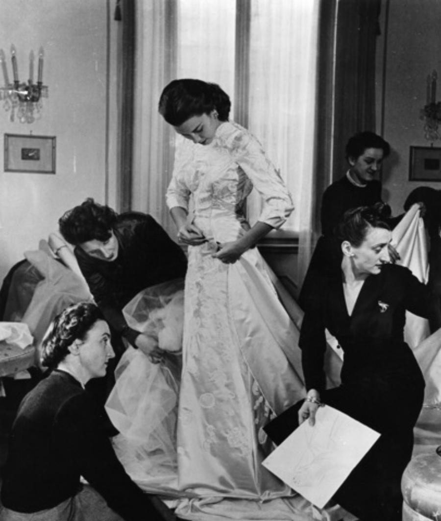 Linda Christian in her wedding dress at the Fontana Sisters Atelier, Rome, 1949.