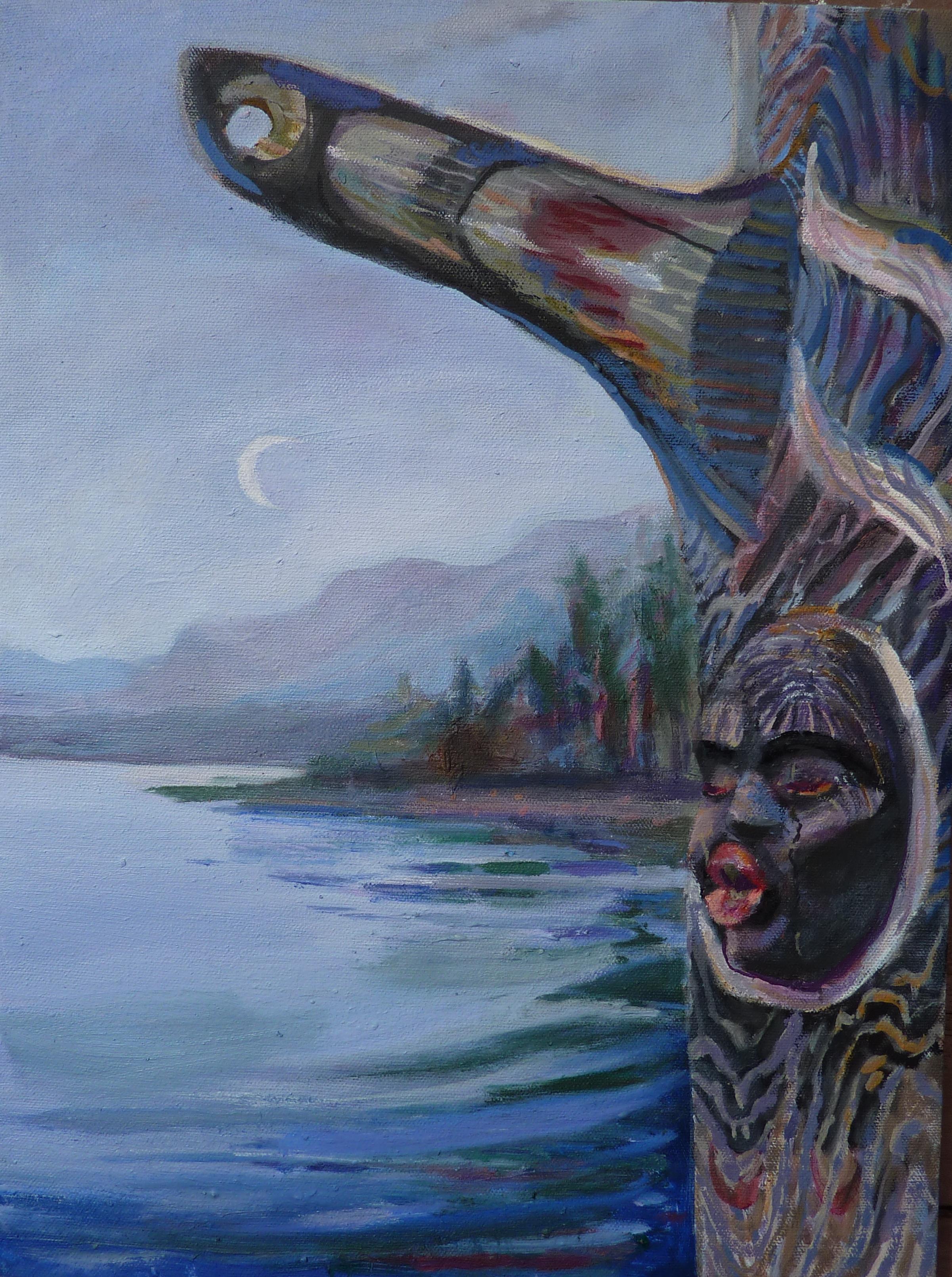 Orca Blow Hole Totem, 17 x 13, Acrylic