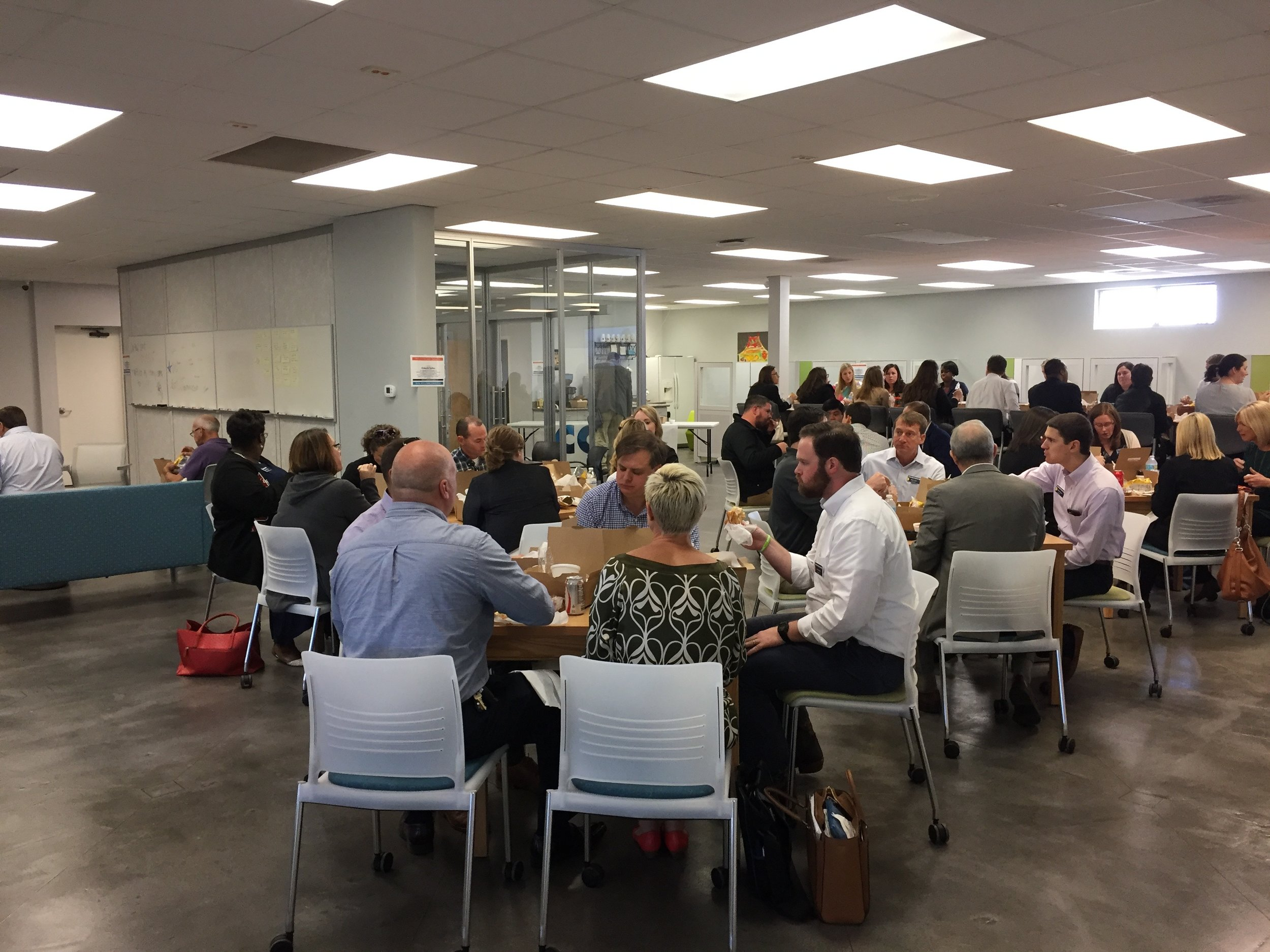LEAP'ers enjoying lunch in the coworking area.