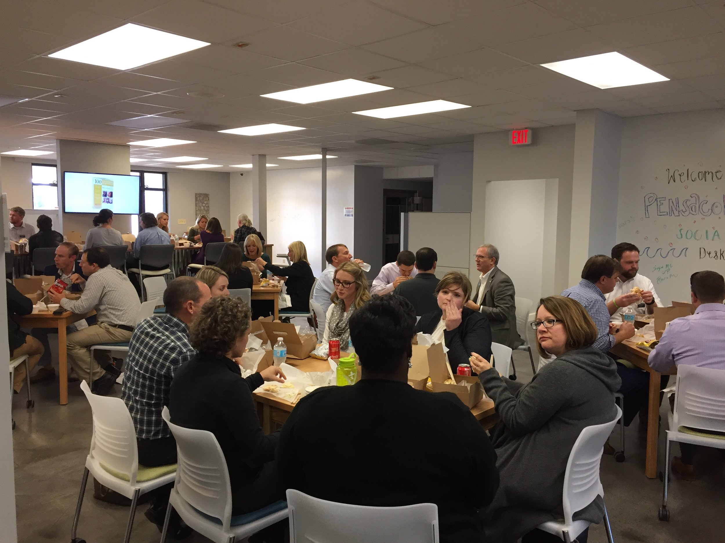 The LEAP'ers collaborating over lunch.