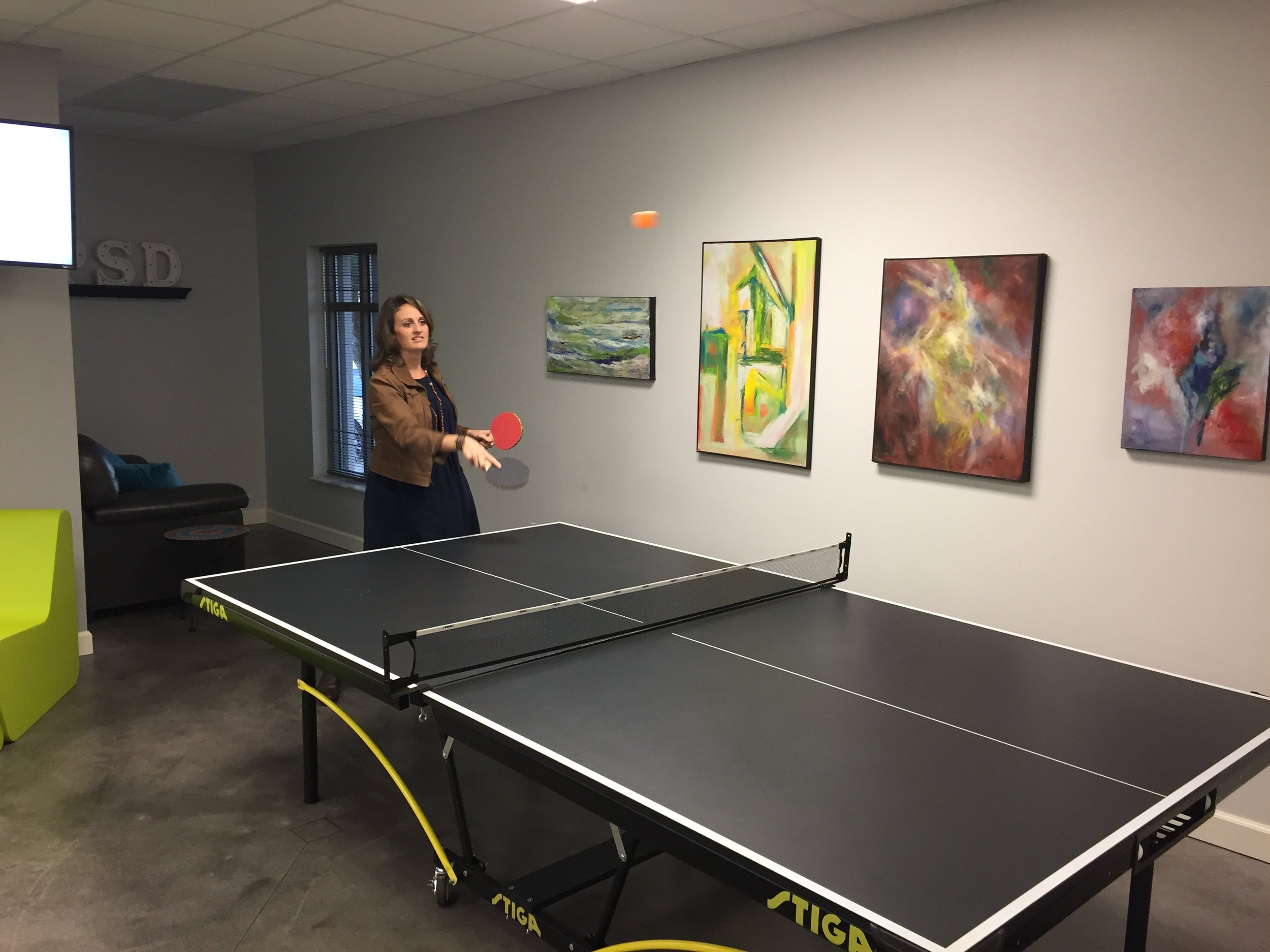 Kelly trying our our signature two-handed ping-pong.