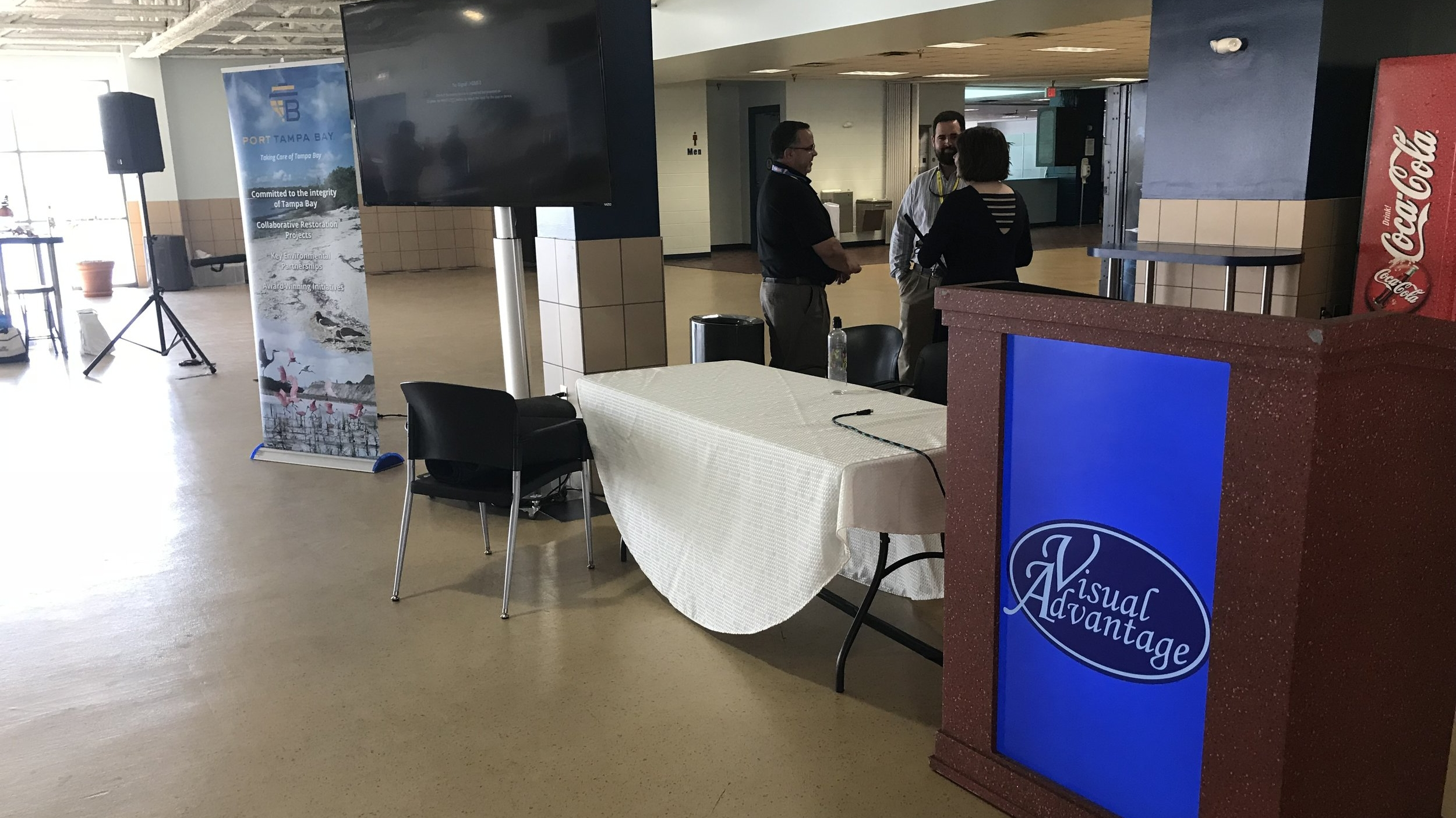 Information Display - Our digital podium can display your company logo or scrolling information, as well as, any important company information, meetings or upcoming activities.