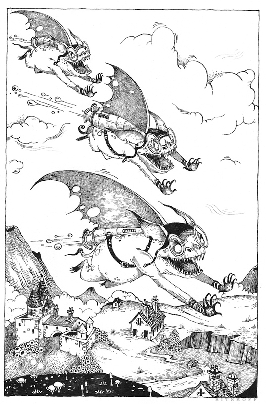 """""""It's the Red Goblins"""", gasped Pillywiggins from in front of her. """"They're Fairy Land's top flying force. They're after you, so fly for your mortal life""""."""