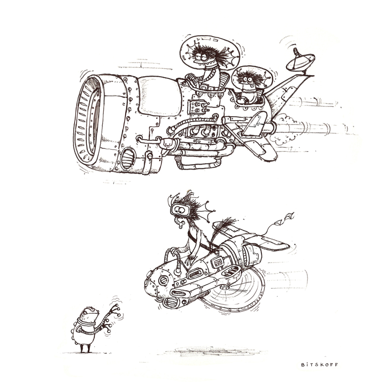 Aliens on spacebikes