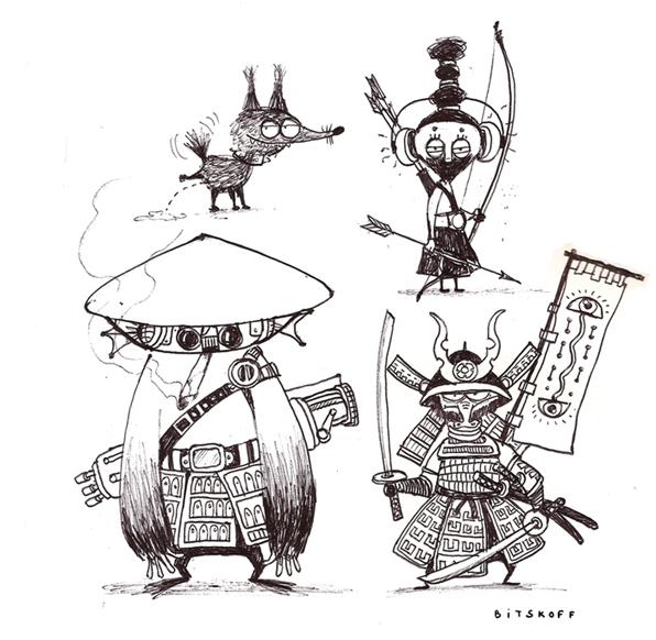 samurai warriors and dog