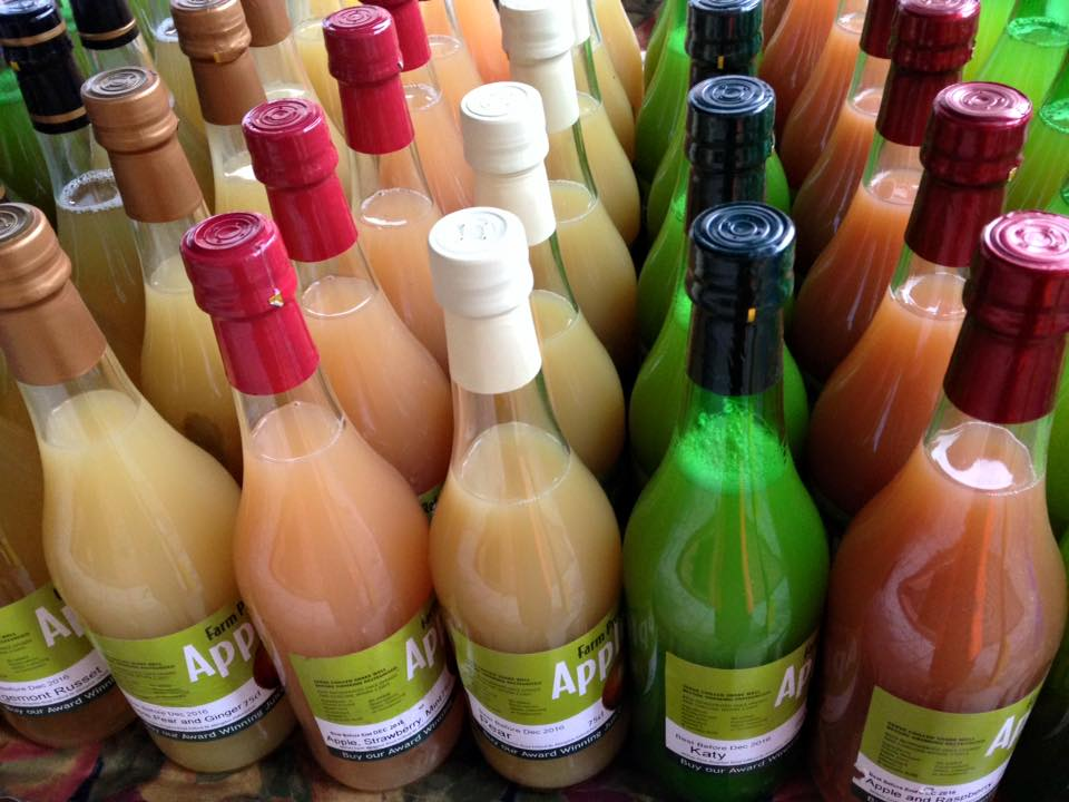 Bottles of juices from Ealing Farmers Market