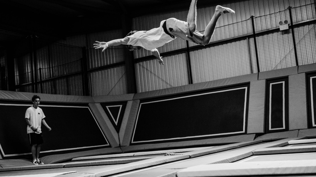 Person trampolining at Oxygen Freejumping