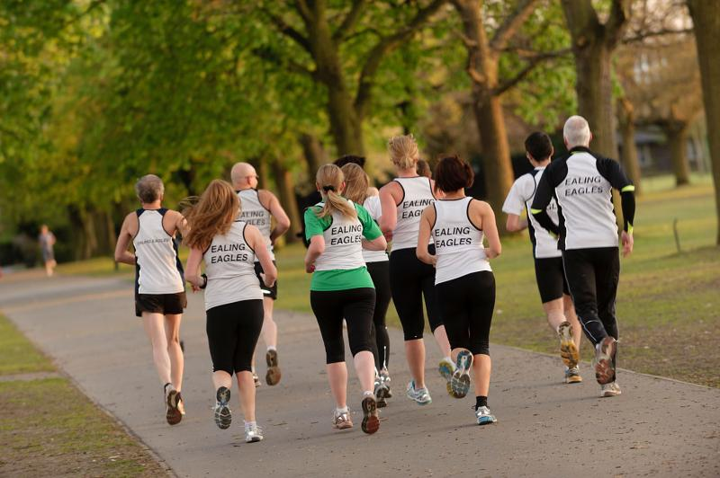 A group of running Ealing Eagles