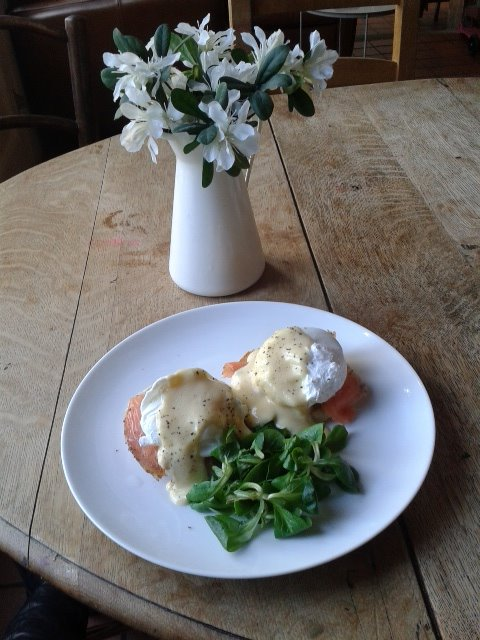 A plate of eggs royale at W7 Emporium, Hanwell, Ealing