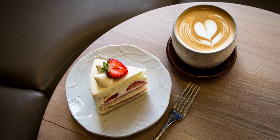 Slice of cake and a coffee from WA Patisserie, Ealing