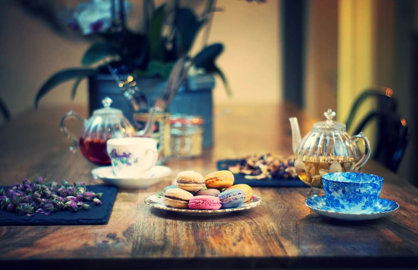 Table with tea and macaroons at 11 Coffee & Co, Ealing