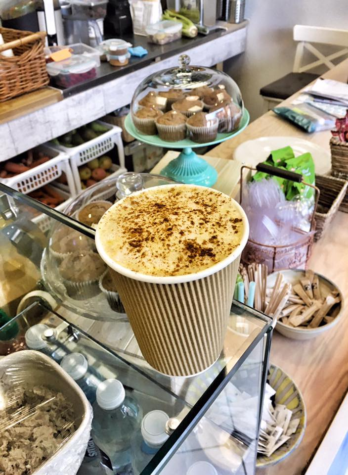 Takeaway cappuccino at The Twins Healthy Habitat cafe, Hanwell, Ealing