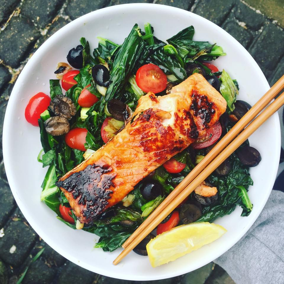 Salmon salad at The Twins Healthy Habitat cafe, Hanwell, Ealing