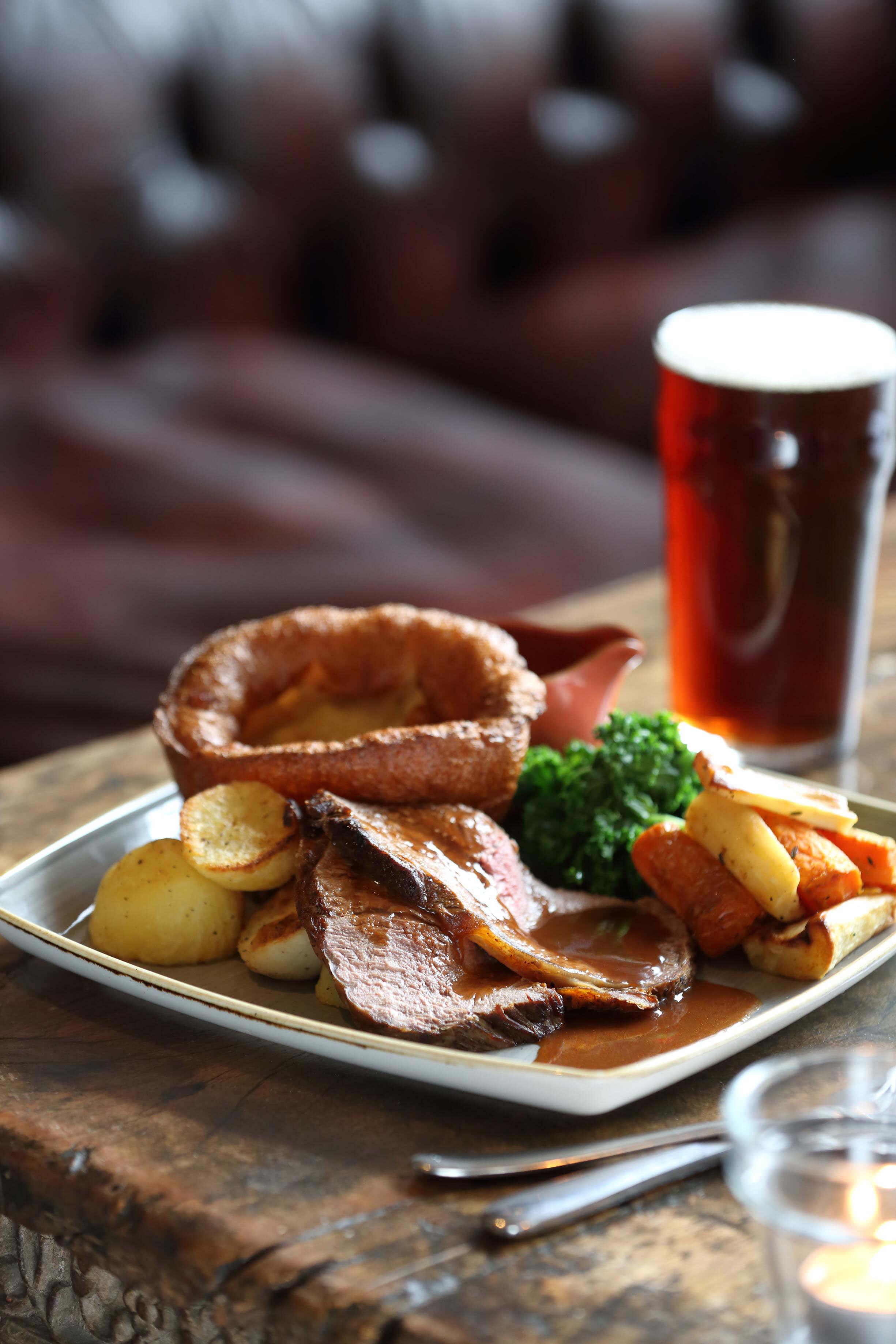 Sunday roast and pint of beer at The North Star pub, Ealing